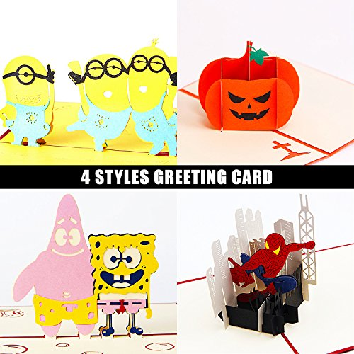 Jerry & Maggie - Pop Up Greeting Card - 4 Pack Combination (Spiderman | Spongebob | Pumpkin | Minions) 3D Paper Greeting Card Halloween Party Birthday Thanksgiving For Kids Men Women (4 pack)]()