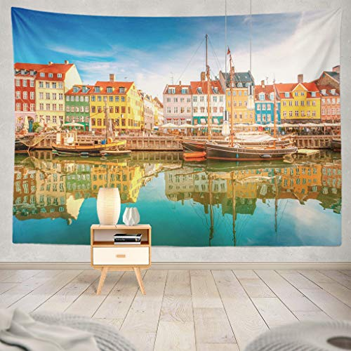 KJONG Landscape Travel City Summer Architecture People Scenic Street Landmark Decorative Tapestry,60X80 Inches Wall Hanging Tapestry for Bedroom Living Room ()