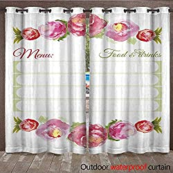 RenteriaDecor Outdoor Curtain for Patio Menu Design Template for Restaurant W72 x L84