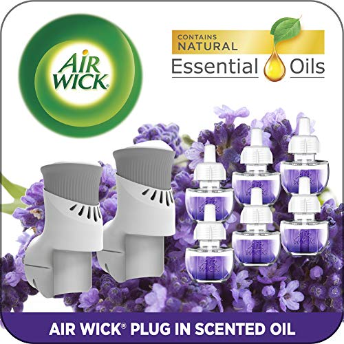 Air Wick Plug in Scented Oil Starter Kit, 2 Warmers + 6 Refills, Lavender & Chamomile, Eco Friendly, Essential Oils, Air Freshener by Air Wick