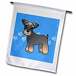 3dRose Miniature Schnauzer Brown Coat - Cartoon Dog - Blue with Pawprints - Garden Flag, 12 by 18""