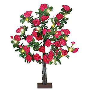 Pre-Lit Rose Bush Battery-Operated Artificial Tabletop Tree, Red 9