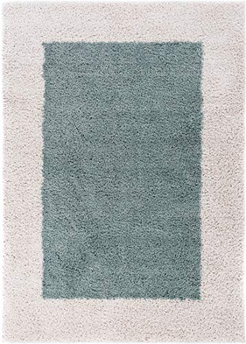 Well Woven 71245 Madison Cozumel Modern Border Light Blue Shag Thick Area Rug 5' x 7'2