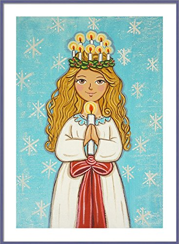 Saint Lucy print St Lucy print Santa Lucia print God Jul St Lucy painting Saint Lucy painting Saint picture Swedish Christmas decoration Catholic wall art Catholic saint print Catholic painting - Lucia Pigment