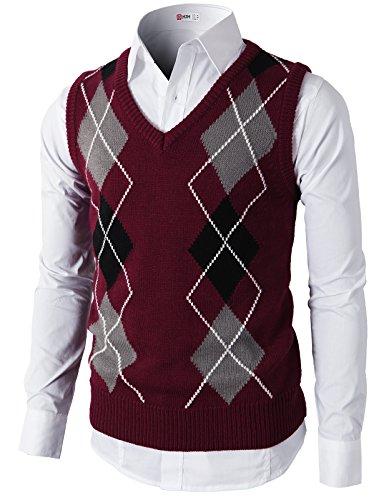H2H Mens Casual Silm Fit Argyle V-Neck Golf Sweater Vest