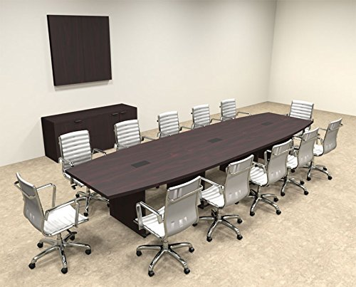 Modern Boat Shaped 14' Feet Conference Table, #OF-CON-C68