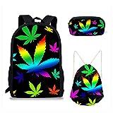 Sannovo 3PCS /set Summer Marijuana Print Women Backpack Beach Bag Cosmetic Case