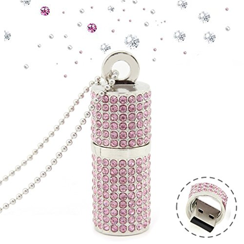 Cool Rhinestone Diamond Crystal Glitter Lipstick Case Shape 32GB USB 2.0 Flash Drive Cute Shining Jewelry Necklace Bling Jump Drive Gift - Drive Bling Flash