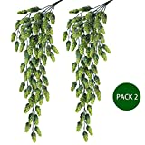 Supla 2 PCS Artificial Hops Flower Vine Garland Plant Fake Hanging Vine Hops Faux hops Artificial Hanging Plants in Frosted Green Each 29.5'' for Indoor Outdoor Front Porch Flower Decor Floral Greenery