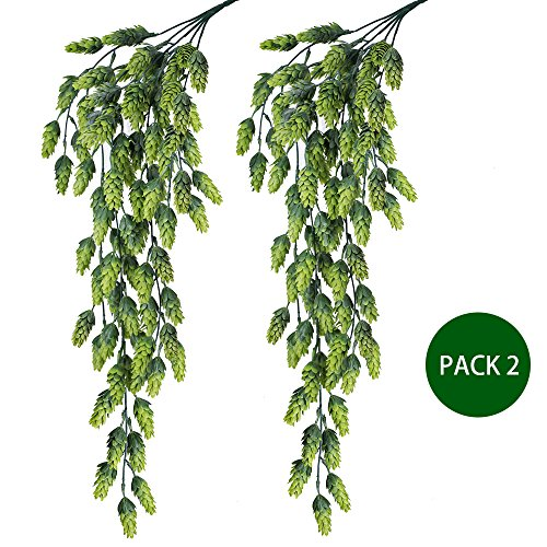 Supla 2 PCS Artificial Hops Flower Vine Garland Plant Fake Hanging Vine Hops Faux hops Artificial Hanging Plants in Frosted Green Each 29.5'' for Indoor Outdoor Front Porch Flower Decor Floral Greenery by Supla
