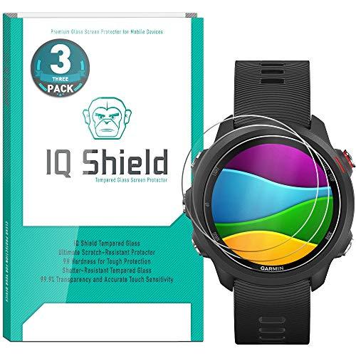 [3-Pack] IQ Shield Tempered Glass [Clear] Screen Protector for Garmin Forerunner 245 Transparent HD Ballistic Glass