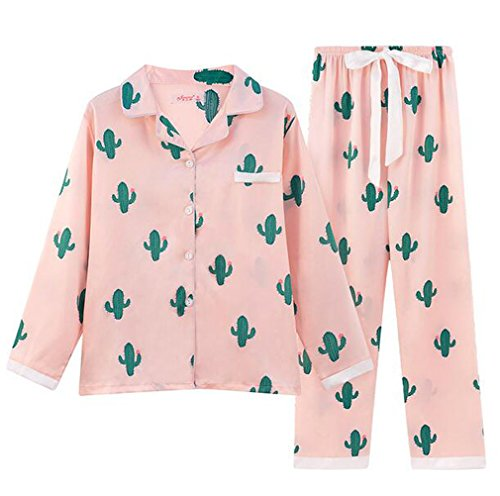 LuckyDM Big Girls/Teen Girls Cacti Sleepwear Long Sleeve Pajama With PJ Set (Pink, Big Girls 10-12) Satin Girls Pajamas
