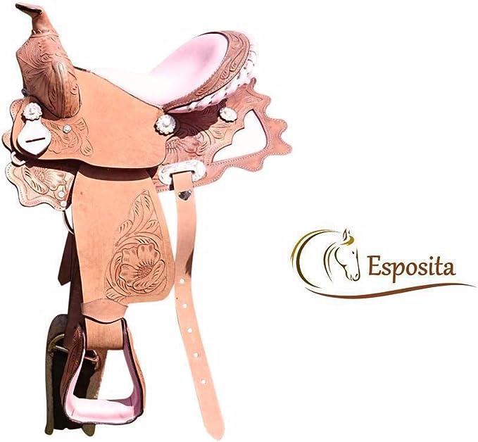 Selle western esposita Princess pour poney et cuir v/éritable Shetty avec Rose 12