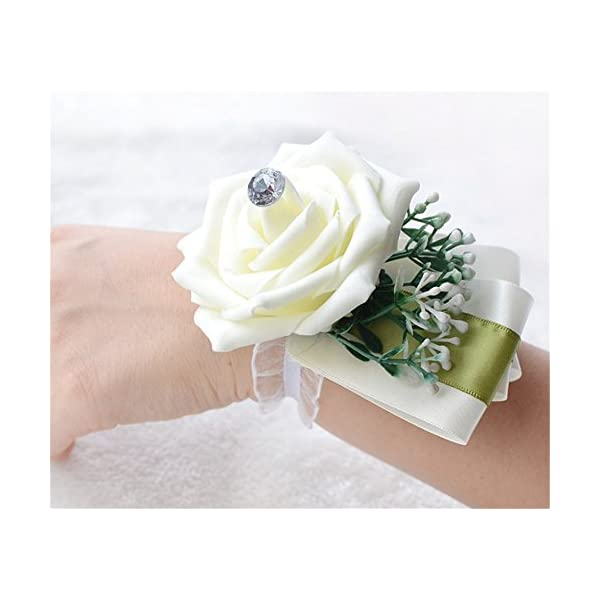 Manga Dua Wedding Bride Bridesmaid Wrist Corsage Wrist Flower Corsage for Wedding Prom Homecoming Party Pack of 6