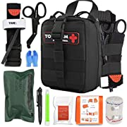 IFAK Trauma First Aid Kit, Micro Rip Away Molle Med Pouch, Fully Stocked Small Tactical Medical Bag with Tourniquet for…