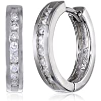 Amazon Collection 10k White Gold 1/3ct TDW Channel Set Diamond Hoop Earrings