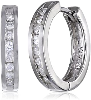Amazon Collection 10k White Gold 1/3ct TDW Diamond Hoop Earrings
