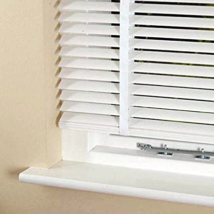 Pilotfish Real Hard Wood Venetian Blinds White 35mm Slats 105cm Width X 152cm With Tapes