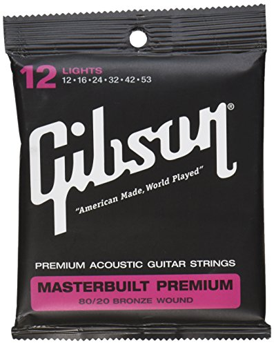 Gibson Masterbuilt Premium 80/20 Bronze Acoustic Guitar Stings, Light