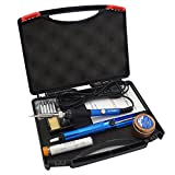 Sywon 60W 110V Electric Soldering Iron Kit, Tip Cleaner, Adjustable Temperature, Solder Sucker, Tin Wire Tube, Stand with Cleaning Sponge and Tips in Carry Case