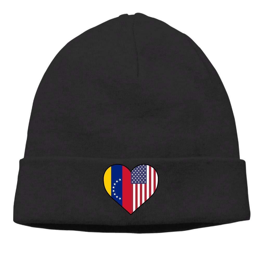 09/&JGJG Venezuela Flag Half America Flag Half Heart Shaped Men Women Knit Hat Winter Warm Knitting Hats