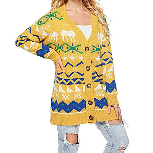 (WEUIE Womens Jacket Women Tops Clearance Women Knitted Printing V Neck Long Sleeve Button Loose Sweater Pullover Coat YE(Free Size, Yellow))
