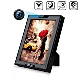 Hidden Camera Clock 1080P HD Wireless WiFi Hidden Spy Camera Photo Frame, IR Night Vision and Motion Detection Nanny Camera for Home Office Surveillance Security (B)
