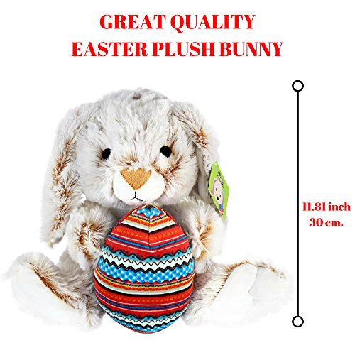 KINREX Easter Bunny Plush - Bunny Rabbit Stuffed Animal with Egg Plush - 11.81