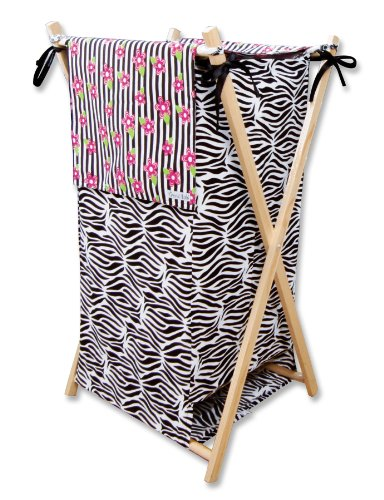 Trend Lab Collapsible Hamper, Zahara (Zebra Print Laundry Basket)