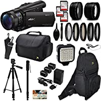 Sony FDR-AX100 4K Ultra HD Camcorder Video Camera + 192GB Memory + Backpack + Case + Telephoto & Wide Angle Lenses + Filter Set + LED Video Light + Tripod + Monopod + Extra Charger & Batteries + More