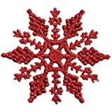 Pack of 6 Glitter Snowflake Christmas Tree Hanging Decorations (Red) by Robelli