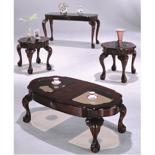 3-pc Cherry Cocktail Table with 2 End Tables Set #Ad 4173-ch