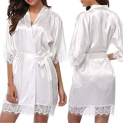 Sleepwear Women V Neck Chemise Nightgown Robes Sets Lingerie Sleepshirts Lingerie Sets White ()