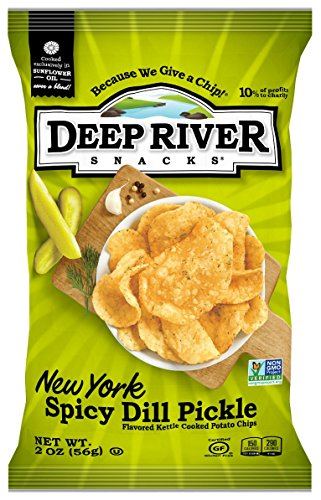 Deep River Snacks New York Spicy Dill Pickle Kettle Cooked Potato Chips, 2-Ounce (Pack of 24)