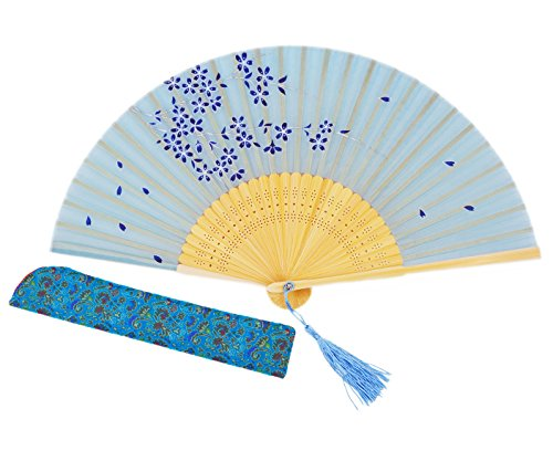 Amajiji Charming Elegant Modern Woman Handmade Bamboo Silk 8.27 (21cm) Folding Pocket Purse Hand Fan, Collapsible Transparent Holding Painted Fan with Silk Pouches/Wrapping. (CZT-03)