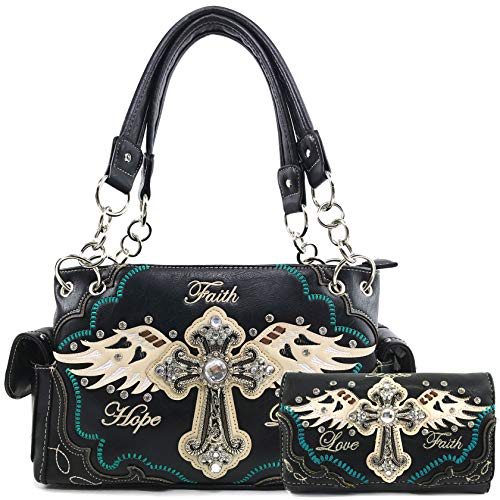 Justin West Women's Concealed Carry Angel Wings Cross Faith Hope Love Western Handbag Tote Purse (Black Handbag Wallet Set)