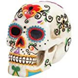 5.5 Inch Multicolor Patterned Day of The Dead Skull Statue Figurine