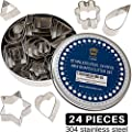 Mini Cookie Cutter Shapes Set - 24 Small Molds to Cut Out Pastry Dough & Pie Crust Designs - Tiny Decorative Metal Stamps in Teardrop Leaf, Flower, Heart, Star & Geometric Shapes - Cut Fondant & Clay