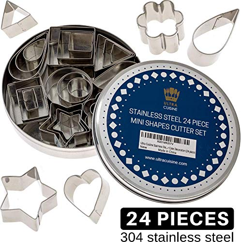 (Mini Cookie Cutter Shapes Set - 24 Small Molds to Cut Out Pastry Dough, Pie Crust & Fruit - Tiny Stainless Steel Metal Stamps Teardrop Leaf, Flower, Heart, Star, Geometric Shapes - Cut Fondant & Clay)