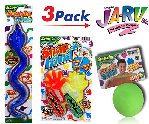 JA-RU Stretchy Snap Hand, Stretchy Dough Ball and Stretchy Giant Snake -