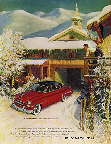 Plymouth Belvedere Hardtop at Challenger Inn Sun Valley Idaho ad 1953 H