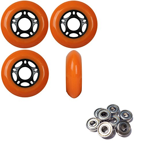Player's Choice OUTDOOR Inline Skate Wheels 72MM 89a ORANGE x4 W/ABEC 9 BEARINGS by Player's Choice