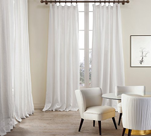 ChadMade Premium Double Layers Plain Flat Hook For Rod With Rings Or Track  Linen Cotton White Curtain Drapery (1 Panel) In 50Wx108L Inch  Linen Curtain Panels