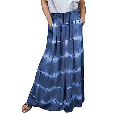 Holywin - Falda Larga de Bolsillo degradada para Mujer Azul S ...