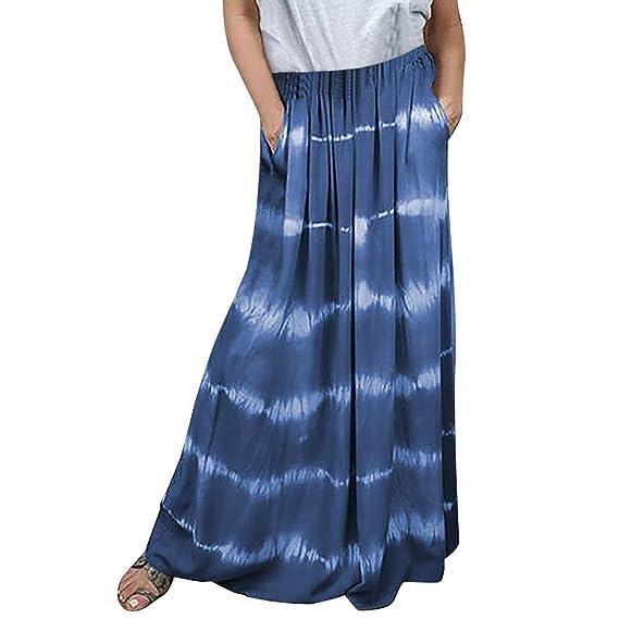 Sylar Falda Larga Maxi Falda Plisada Mujer Tie Dye Vintage Falda A ...