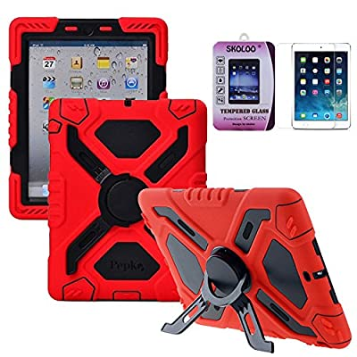 Skoloo iPad Mini 3 Silicone Plastic Kid Proof Extreme Duty Dual Durable Stylish Great Value Protective Back Cover Case with Kickstand and Sticker + Skoloo 9H 0.32mm Tempered-Glass Screen Protector for Apple iPad Mini 1 2 3 & iPad Mini with Retina Display