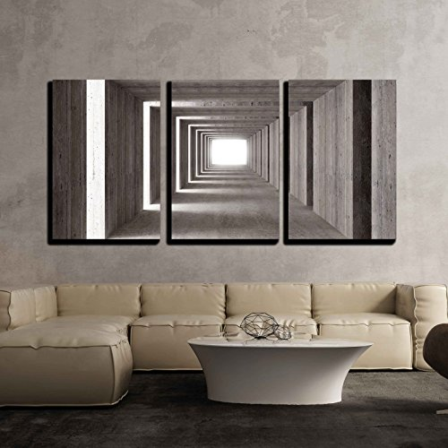 wall26 - 3 Piece Canvas Wall Art - fine Image 3D of Concrete Tunnel and lateral Lights, Abstract Background - Modern Home Decor Stretched and Framed Ready to Hang - 16