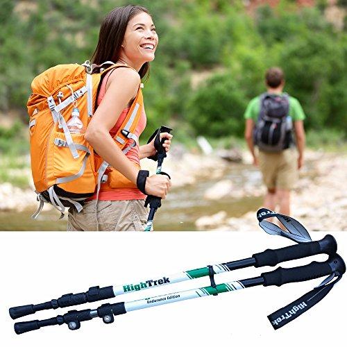 High Trek Hiking Poles [ Pair ] Telescopic Trekking / Walking / Climbing - 100% Tungsten Carbide Tips, Ultralight, Anti-Shock, Easy Flip Lock Height Adjustment