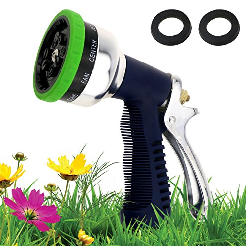 GikPal Premium Garden Hose Nozzle - Rugged Heavy Duty Full Metal Hand Sprayer Watering Nozzle with 9 Adjustable Watering Patterns Metal No-Squeeze Sprayer for Home, Lawn Care Gardening and Car Wash
