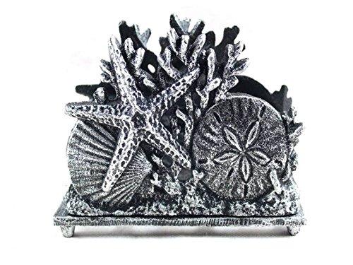 - Antique Silver Cast Iron Seashell Napkin Holder 7